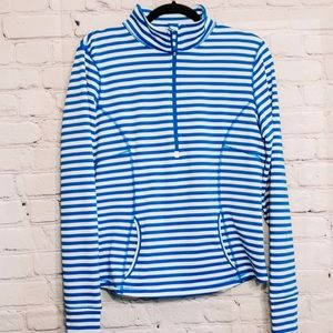 Lucy Blue and White Striped Half Zip Pullover